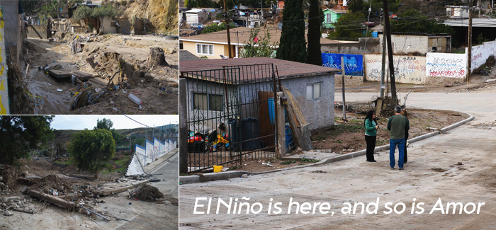 An Amor house still standing after the first storm of the year hit Tijuana